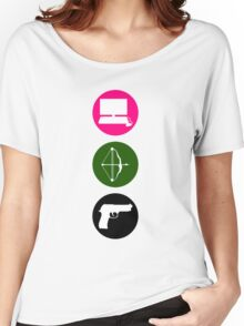 Team Arrow - Colorful Symbols - Weapons Women's Relaxed Fit T-Shirt