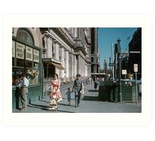 Pedestrians at end of Post Office next to Tin Shed Elizabeth street 196102000010 Art Print