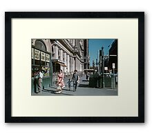 Pedestrians at end of Post Office next to Tin Shed Elizabeth street 196102000010 Framed Print