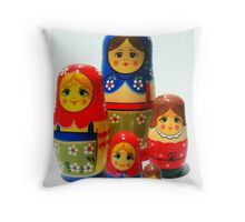 Babooshka family Throw Pillow