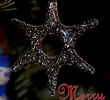 Christmas card ornament on tree by GalleryThree
