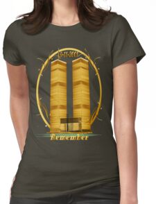 Gold Twin Towers lettered  Womens Fitted T-Shirt
