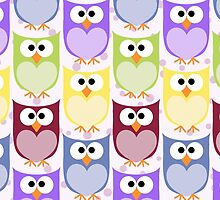 Colorful Owls - Green Blue Purple Yellow  by sitnica