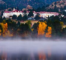 The Stanley Hotel In Fog by John  De Bord Photography