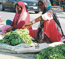 Ladies with spinach vegetable by Bobby Dar