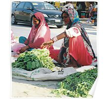 Ladies with spinach vegetable Poster