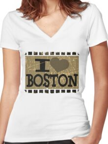 I love Boston – Vintage Boston, MA Women's Fitted V-Neck T-Shirt