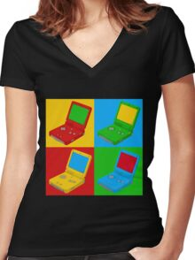 Game Boy Pop Art Women's Fitted V-Neck T-Shirt