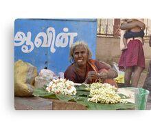 flower selling woman Metal Print