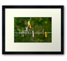 Cloth Pins On The Line Framed Print