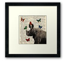 Antique Dictionary Rhinoceros Butterfly Print Framed Print