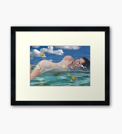 afloat in a sea of dreams Framed Print