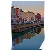 Sundown and Moonrise at Ramsgate Harbour Poster