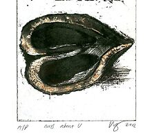 walnut heartprint Nuts About U litho by Veera Pfaffli