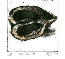 walnut heartprint Nuts About U litho by Veera Pfaffli