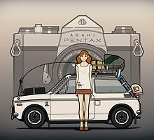 Honda N600 Rally Kei Car With Japanese 60's Asahi Pentax Commercial Girl by Tom Mayer