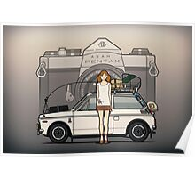 Honda N600 Rally Kei Car With Japanese 60's Asahi Pentax Commercial Girl Poster