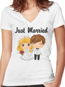 Just Married Women's Fitted V-Neck T-Shirt