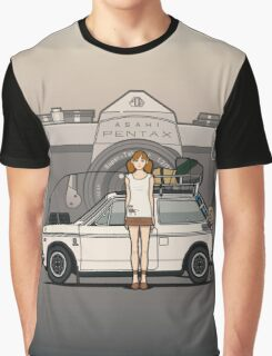 Honda N600 Rally Kei Car With Japanese 60's Asahi Pentax Commercial Girl Graphic T-Shirt