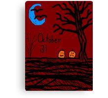 Halloween jack o lantern October 31 Tia Knight Canvas Print