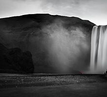 Skogafoss And Little Red by Mel Sinclair