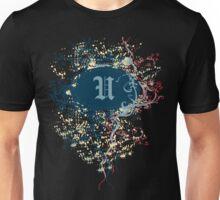 Retro Damask Pattern with Monogram Letter U Unisex T-Shirt