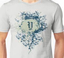 Retro Damask Pattern with Monogram Letter Y Unisex T-Shirt