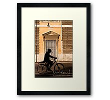 Door and cyclist Framed Print