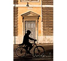Door and cyclist Photographic Print