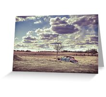 Antique car in rural landcape Greeting Card