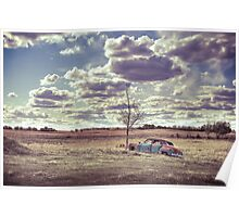 Antique car in rural landcape Poster