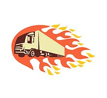 Container Truck and Trailer Flames Retro by patrimonio