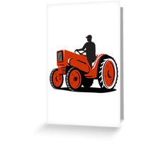 Farmer Driving Vintage Tractor Retro Greeting Card