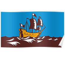 Tall Sailing Ship Retro Woodcut Poster