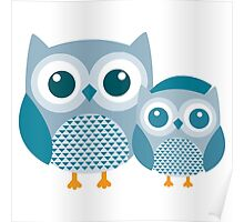 Blue baby Owl Poster