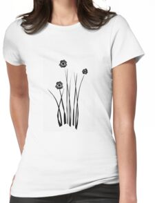 Kathie McCurdy Zen Black & White Flowers Womens Fitted T-Shirt