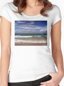 Water, Waves, Sand (O0715wws) Women's Fitted Scoop T-Shirt
