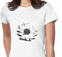 Kathie McCurdy Black & White Polka Dot Daisy Womens Fitted T-Shirt