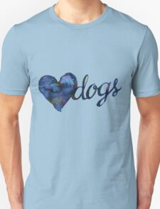 Love Dogs Watercolor - Blue T-Shirt