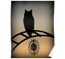 Great Horned Owl ~ Sunset Silhouette  Poster