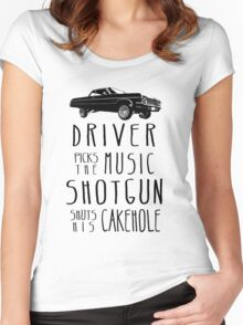 Driver picks the Music, Shotgun shuts his Cakehole Women's Fitted Scoop T-Shirt