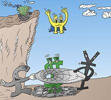 USD EUR GBP JPY en caricature by Binary-Options