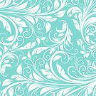 Elegant Teal Blue and White Damask by avdesigns