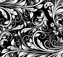 Elegant Black and White Damask by avdesigns