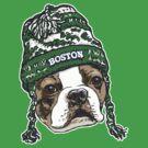 Boston Terrier Green Beanie by MudgeStudios