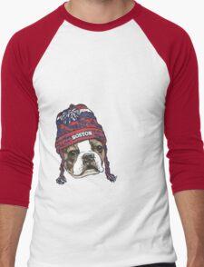 Boston Terrier Red Beanie Men's Baseball ¾ T-Shirt
