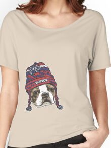 Boston Terrier Red Beanie Women's Relaxed Fit T-Shirt