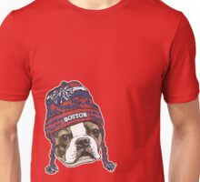 Boston Terrier Red Beanie Unisex T-Shirt
