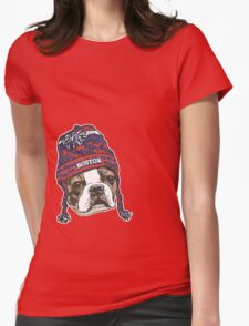 Boston Terrier Red Beanie Womens Fitted T-Shirt