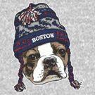 Boston Terrier Blue Beanie by MudgeStudios